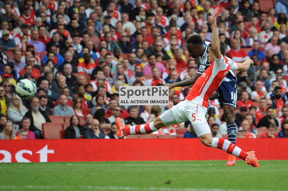 West Broms Saido Berahino gets a shot away during the Arsenal v West Brom match on Sunday 24th May 2015