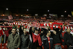 A general view of fans waving their scarves at Anfield Stadium during the Champions League Round of 16, Second Leg match between Liverpool and Real Madrid at Anfield on March 10, 2009 in Liverpool, England
