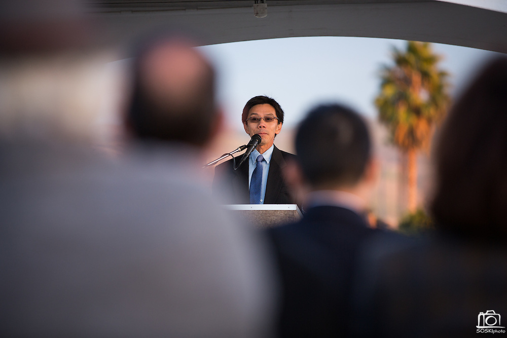 MUSD Board of Trustees President Danny Lau presents during the Milpitas Unified School District and San Jose Evergreen Community College District Community College Extension Ground Breaking Ceremony near Russell Middle School in Milpitas, California, on November 17, 2015. (Stan Olszewski/SOSKIphoto)