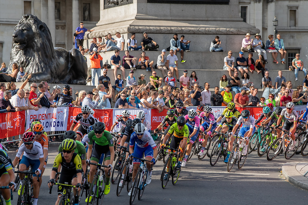 The riders come around Trafalgar Square in the early stages of the Prudential RideLondon Classique. Saturday 28th July 2018<br /> <br /> Photo: Thomas Lovelock for Prudential RideLondon<br /> <br /> Prudential RideLondon is the world's greatest festival of cycling, involving 100,000+ cyclists - from Olympic champions to a free family fun ride - riding in events over closed roads in London and Surrey over the weekend of 28th and 29th July 2018<br /> <br /> See www.PrudentialRideLondon.co.uk for more.<br /> <br /> For further information: media@londonmarathonevents.co.uk