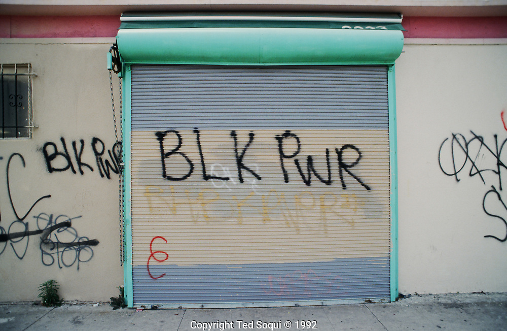 Graffiti on a business in South Central Los Angeles.