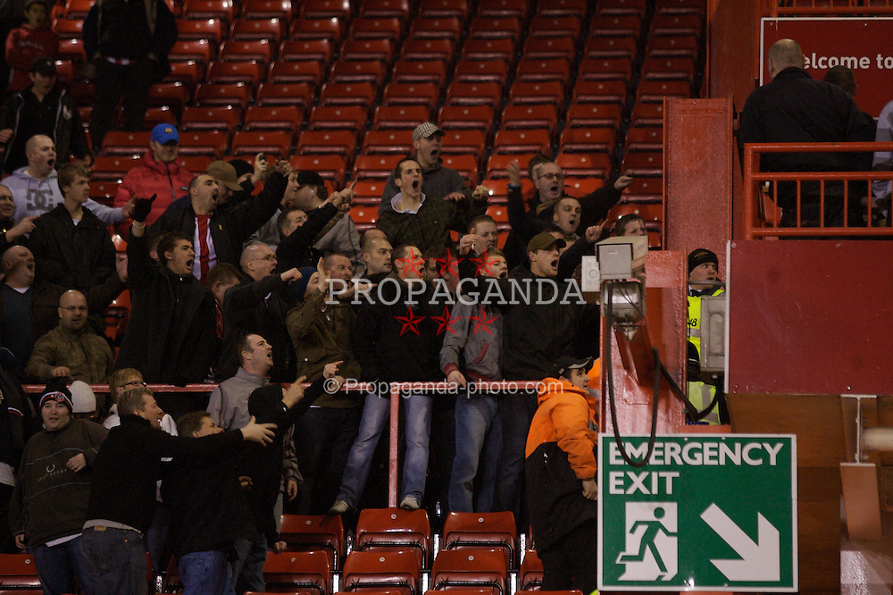 SHEFFIELD, ENGLAND - Sunday, January 27, 2008: Sheffield United fans taunt the Manchester City fans following their FA Cup 4th Round victory at Bramall Lane. (Photo by David Rawcliffe/Propaganda)