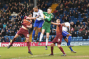 Bury defence get called upon again during the The FA Cup third round match between Bury and Bradford City at Gigg Lane, Bury, England on 9 January 2016. Photo by Mark Pollitt.