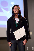 Jane Li of Columbus Academy introduces herself during the Columbus Metro Regional Spelling Bee Regional Saturday, March 16, 2013. The Regional Spelling Bee was sponsored by Ohio University's Scripps College of Communication and held in Margaret M. Walter Hall on OU's main campus.