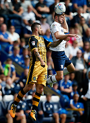 Tom Barkhuizen of Preston North End wins a header above Daniel Pudil of Sheffield Wednesday - Mandatory by-line: Matt McNulty/JMP - 05/08/2017 - FOOTBALL - Deepdale - Preston, England - Preston North End v Sheffield Wednesday - Sky Bet Championship