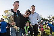 Em Franklin receiving her Club person of the year award from Forest Green Rovers Chairman Dale Vince and Forest Green Rovers manager, Mark Cooper during the EFL Sky Bet League 2 match between Forest Green Rovers and Grimsby Town FC at the New Lawn, Forest Green, United Kingdom on 5 May 2018. Picture by Shane Healey.