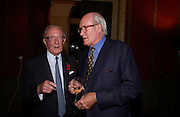 Lord Carrington and Sir Alastair Horne. Book launch for ' Miles: a Portrait of the 17th Duke of Norfolk'. By Gerard Noel. the Throne Room, Archbishops House. Ambrosden Avenue. London SW1. ONE TIME USE ONLY - DO NOT ARCHIVE  © Copyright Photograph by Dafydd Jones 66 Stockwell Park Rd. London SW9 0DA Tel 020 7733 0108 www.dafjones.com