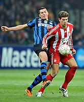 Milano, 23/02/2011<br /> Champions League/Champions League/Inter-Bayern Monaco<br /> Gomez difende palla da Lucio