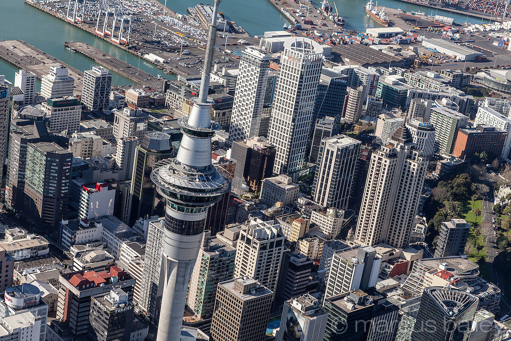 Aerial photograph of Auckland CBD ookin towards the port