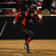 02 March 2018: San Diego State softball closes out day two of the San Diego Classic I at Aztec Softball Stadium with a night cap against CSU Northridge. San Diego State outfielder Megan Smith (1) leads off the bottom of the sixth inning with a single. The Aztecs dropped a close game 2-0 to the Matadors. <br /> More game action at sdsuaztecphotos.com