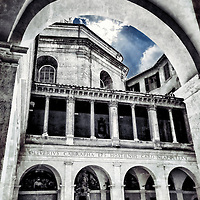 The Renaissance cloister of Bramante, part of the Santa Maria della Pace, a church in Rome, central Italy, not far from Piazza Navona.