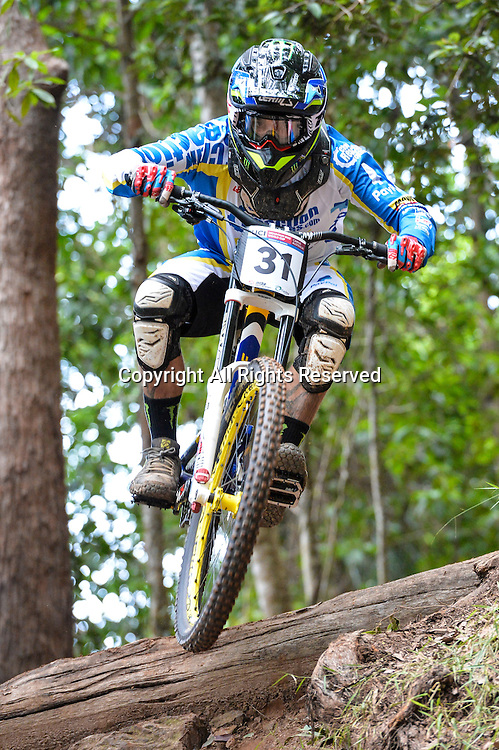 22.04.2016. Cairns,Australia. UCI Mountain Bike World Cup. Downhill qualifying. Sam Hill from Australia riding for CHAIN REACTION CYCLES / PAYPAL.