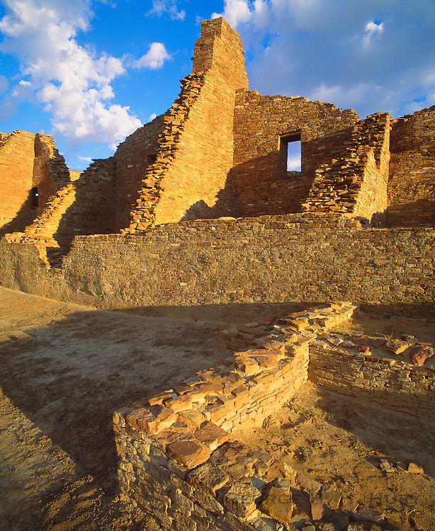 0204-1065 ~ Copyright: George H. H.Huey ~ Pueblo Bonito. Anasazi 'great house' pueblo. Constructed A.D. 850-1130. [Three stories high, over 600 rooms]. Chaco Culture National Historical Park, New Mexico.