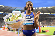 Dina Asher-Smith (GBR) poses after winning the women's 100m in 10.88 during the IAAF Diamond League final at the 44th Memorial Van Damme at King Baudouin Stadium, Friday, Sept. 6, 2019, in Brussels, Belgium. (Jiro Mochizuki/Image of Sport)