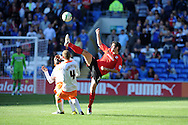 Cardiff city's Peter Whittingham ® challenges for the ball with Blackpool's Scott Robertson (4).   NPower championship, Cardiff city v Blackpool at the Cardiff city Stadium in Cardiff, South Wales on Saturday 29th Sept 2012.   pic by  Andrew Orchard, Andrew Orchard sports photography,