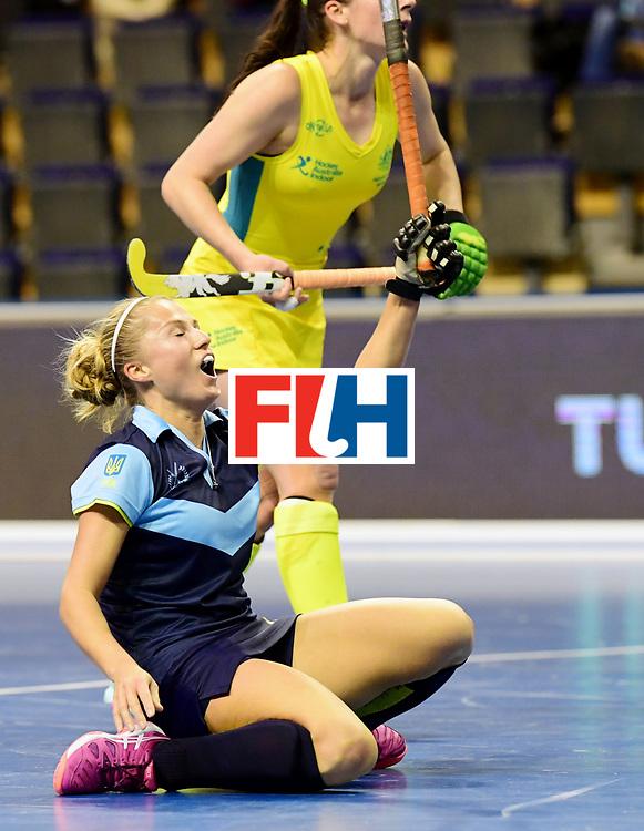 BERLIN - Indoor Hockey World Cup<br /> Women: Ukraine - Australia<br /> foto: KHILKO Maryna.<br /> WORLDSPORTPICS COPYRIGHT FRANK UIJLENBROEK