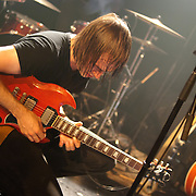 Malajube guitarist and lead singer Julien Mineau improvising at the end of a show, 2010.
