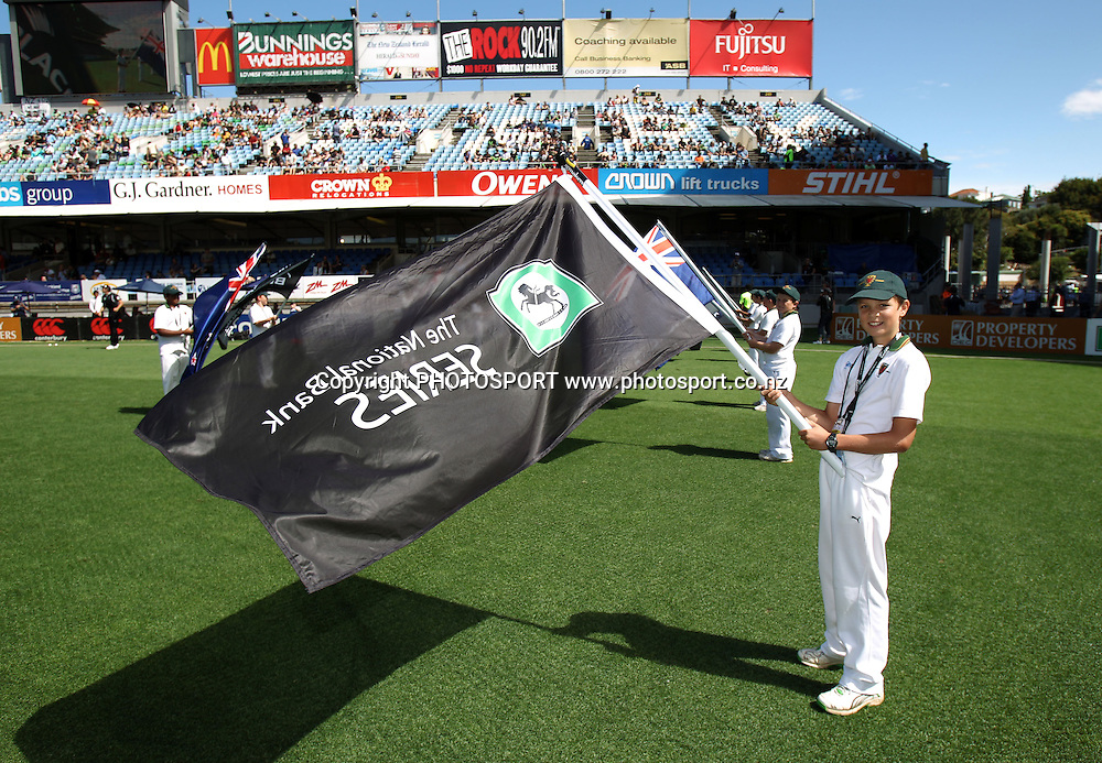 Young Cornwall cricket club flag bearers at the 2nd one day international. New Zealand Black Caps versus Australia one day Chappell Hadlee cricket series. Eden Park, Auckland, New Zealand. Saturday 6 March 2010. Photo: Andrew Cornaga/PHOTOSPORT