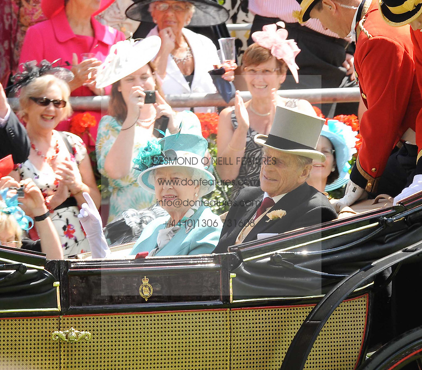 HM THE QUEEN & THE DUKE OF EDINBURH at the first day of the 2010 Royal Ascot Racing festival at Ascot Racecourse, Berkshire on 15th June 2010.