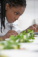 Female chef preparing salad in kitchen