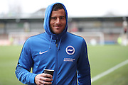 Brighton & Hove Albion centre forward Tomer Hemed (10) drinking a cup of coffee before the EFL Sky Bet Championship match between Brentford and Brighton and Hove Albion at Griffin Park, London, England on 5 February 2017.