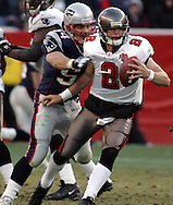 New England Patriot Linebacker Tedy Bruschi gets his hands on Tampa Bay's Chris Simms and forces the fumble in a big defensive play.  New England hammered Tampa Bay's offensive all game with intense pressure in an impressive 28-0 victory at Gillette Stadium, Foxboro, MA