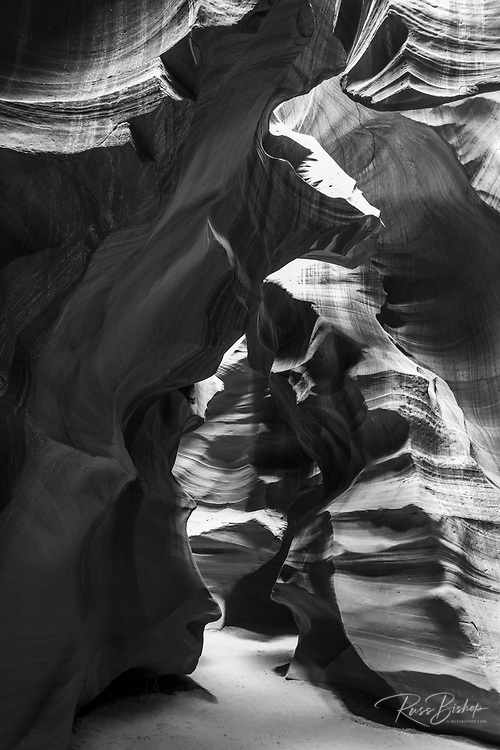 Slickrock formations in upper Antelope Canyon, Navajo Indian Reservation, Arizona USA