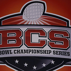 January 3, 2012; New Orleans, LA, USA;  A detail of BCS Championship Series logo on signage for the Sugar Bowl between the Michigan Wolverines and the Virginia Tech Hokies at the Mercedes-Benz Superdome.  Mandatory Credit: Derick E. Hingle-US PRESSWIRE