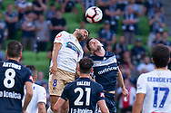 SYDNEY, NSW - JANUARY 12: Newcastle Jets forward Jair (8) competes for the header at the Hyundai A-League Round 13 soccer match between Melbourne Victory and Newcastle Jets at AAMI Park in VIC, Australia 12 January 2019. (Photo by Speed Media/Icon Sportswire)
