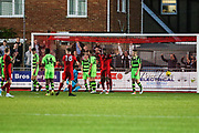 Worthing score their third goal, 3-1 during the Pre-Season Friendly match between Worthing FC and Forest Green Rovers at Woodside Road, Worthing, Uni on 1 August 2017. Photo by Shane Healey.