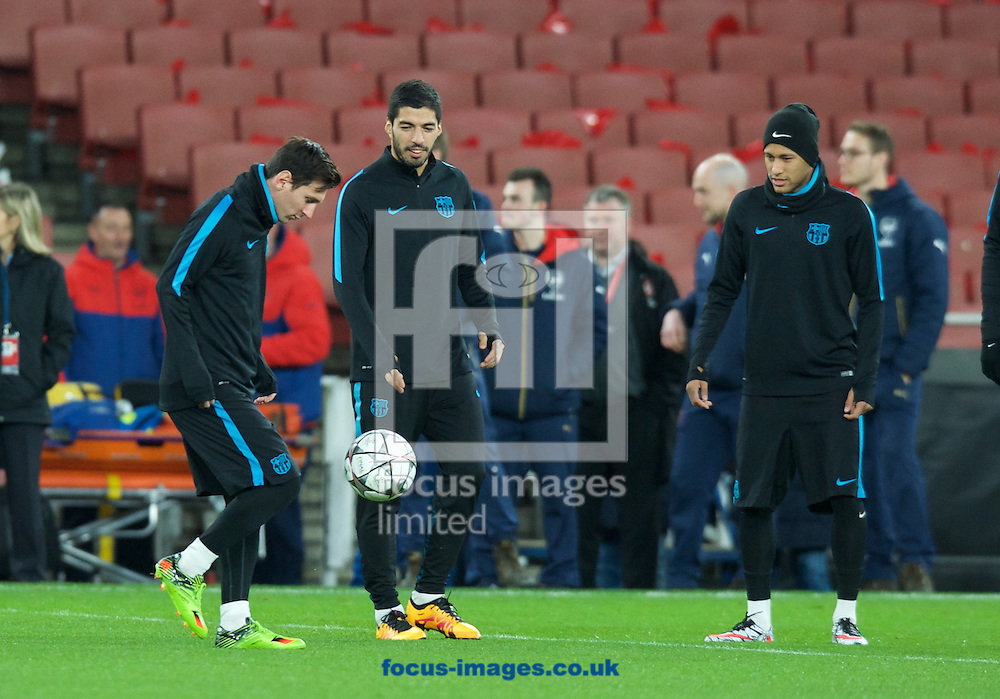 Lionel Messi of Barcelona (left) Luis Suarez and Neymar during the Barcelona training session at the Emirates Stadium, prior to their Champions League match against Arsenal tomorrow. London, England.<br /> Picture by Alan Stanford/Focus Images Ltd +44 7915 056117<br /> 22/02/2016