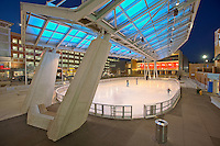 Architectural photography of the Silver Spring MD Civic Center and Ice Rink at twilight