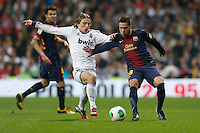 30.01.2013 SPAIN -  Copa del Rey 12/13 Matchday 1/4  match played between Real Madrid CF vs  F.C. Barcelona (1-1) at Santiago Bernabeu stadium. The picture show Luka Modric (Croatian midfielder of Real Madrid)