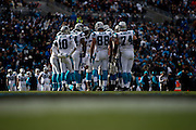 January 17, 2016: Carolina Panthers vs Seattle Seahawks. Panthers' huddle