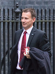 Downing Street, London, December 1st 2015. Health Secretary Jeremy Hunt arrives at Downing Street for the weekly cabinet meeting. ///FOR LICENCING CONTACT: paul@pauldaveycreative.co.uk TEL:+44 (0) 7966 016 296 or +44 (0) 20 8969 6875. ©2015 Paul R Davey. All rights reserved.