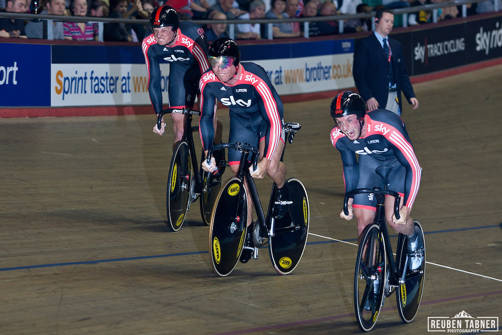 (from bottom) Jason Kenny, Chris Hoy, Matthew Crampton of Team Sky Track Cycling at the start of the Men's Team Sprint FInals they won Bronze with a time of 44.087. ..UCI Track Cycling World Cup, Manchester.