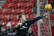 Liverpool goalkeeper Simon Mignolet  during the Barclays Premier League match between Sunderland and Liverpool at the Stadium Of Light, Sunderland, England on 30 December 2015. Photo by Simon Davies.