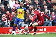 Southampton midfielder Nathan Redmond (22) during the Premier League match between Liverpool and Southampton at Anfield, Liverpool, England on 22 September 2018.
