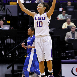 February 5, 2011; Baton Rouge, LA; LSU Lady Tigers guard Adrienne Webb (10) reacts against the Kentucky Wildcats during the second half of a game at the Pete Maravich Assembly Center. LSU defeated Kentucky 61-51.  Mandatory Credit: Derick E. Hingle-US PRESSWIRE