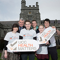 FREE IMAGE-NO REPRO FEE.University College Cork (UCC) has passed its final check-up with flying colours on the road to being declared a 'Health Promoting University', with HSE South confirming the accolade this week. A ceremony is to take place on Wednesday 25 February at 3pm to mark the culmination of several years of work, at which the HSE South will present UCC with a flag representing the University's continued commitment to health promotion. The recognition formally acknowledges that health has been meaningfully integrated into the culture, processes and policies of UCC. Senior HSE South officials are to attend along with Cllr. Mary Shields, Lord Mayor of Cork, as well as student and staff members of UCC Health Matters, the Student Experience Office, the UCC Students' Union, the President of UCC and members of senior management amongst others. The entire UCC community has been involved in the journey, with the initiative first put in place in 2010. UCC President Dr Michael Murphy then signed an agreement with HSE South in December 2012 committing the University to officially becoming a health promoting setting as inspired by the World Health Organisation's Health Promoting University (HPU) framework.  Photographed were: Emily Lynch, UCCHealth Matters Team, Dr. Michael Byrne, Head of Student Health Service, UCC/ Co-Cordinator UCCHealth Matters, Dave Carey, UCCHealth Matters Team, Cian Power, UCC SU Welfare Officer, Co-Cordinator UCCHealth Matters, Fiona O Donnell, UCCHealth Matters Team and Michael Hanrahan, Clubs Health Promotion Officer.  Photo by Tomas Tyner, UCC.