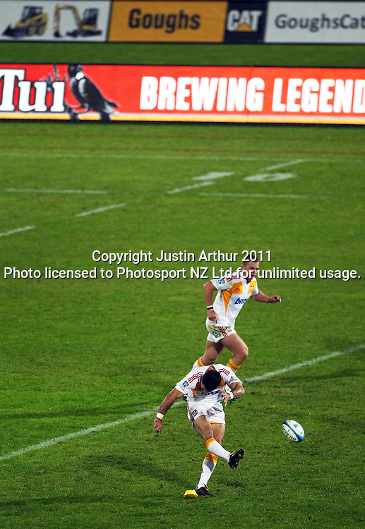 Stephen Donald kicks a conversion. Super 15 rugby union match - Crusaders v Chiefs at McLean Park, Napier, New Zealand on Saturday, 21 May 2011. Photo: Justin Arthur / photosport.co.nz
