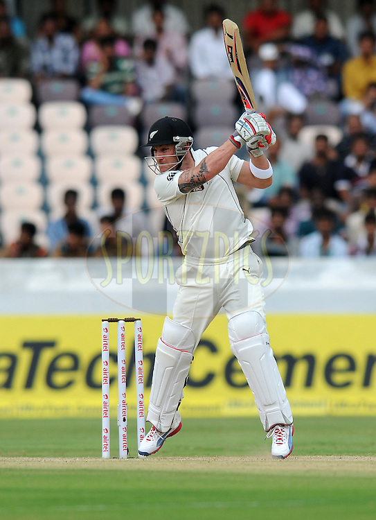 Brendon McCullum of New Zealand bats during day two of the first test match between India and New Zealand held at The Rajiv Gandhi International Stadium in Hyderabad, India on the 24th August 2012..Photo by: Pal Pillai/BCCI/SPORTZPICS.