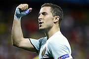 Belgium forward Eden Hazard (C) (10) celebrates his assist for the goal during the Euro 2016 match between Sweden and Belgium at Stade de Nice, Nice, France on 22 June 2016. Photo by Andy Walter.
