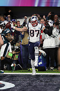 New England Patriots tight end Rob Gronkowski (87) dances and celebrates after catching a 4 yard touchdown pass good for a 33-32 fourth quarter Patriots lead during the 2018 NFL Super Bowl LII football game against the Philadelphia Eagles on Sunday, Feb. 4, 2018 in Minneapolis. The Eagles won the game 41-33. (©Paul Anthony Spinelli)