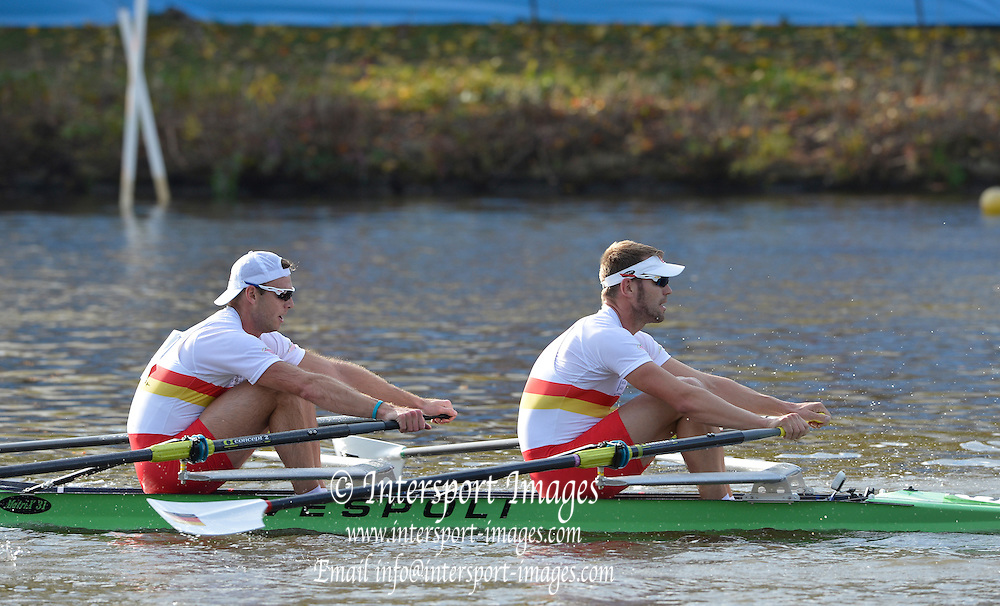 """Boston,  USA  ."""" 2012 Head of the Charles"""".  ..Description;   Description. Charles River. Cambridge,  Massachusetts, Championship Double Sculls Pass Cambridge Boat Club, Cambridge MASS. Bow Glenn OCHAL and Marcel HACKER,  2012 Head of the Charles.  ..19:29:43  Saturday  20/10/2012 ...[Mandatory Credit: Peter Spurrier/Intersport Images]"""