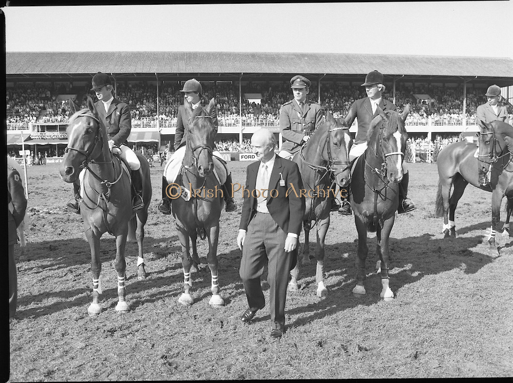 Aga Khan Cup at the RDS.    (R39)..1986..08.08.1986..8th August 1986..The annual Aga Khan Cup competition was held at the RDS ( Royal Dublin Showgrounds) today. In a keenly contested competition The Great Britain team emerged victorious. The Great Britain team was led by Chef dEquipe Mr Ronnie Massarella..Image shows the Ireland team who took part in the competition; Paul Darragh,Vina Lyons,Captain Gerry Mullins and Eddie Macken.