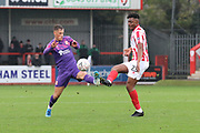 Jerry Yates and Rohan Ince   during the The FA Cup match between Cheltenham Town and Swindon Town at Jonny Rocks Stadium, Cheltenham, England on 9 November 2019.