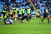 Wasps utility back Willie Le Roux (15) keeps the ball in play during the Aviva Premiership match between Wasps and London Irish at the Ricoh Arena, Coventry, England on 4 March 2018. Picture by Dennis Goodwin.
