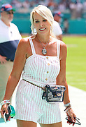 Sep 15, 2019; Miami Gardens, FL, USA;  New England Patriots head coach Bill Belichick's girlfriend Linda Holliday smiles on the Patriots bench before an NFL game between the Miami Dolphins and the Patriots at Hard Rock Stadium in Miami Gardens, FL. The Patriots beat the Dolphins 43-0. (Steve Jacobson/Image of Sport)