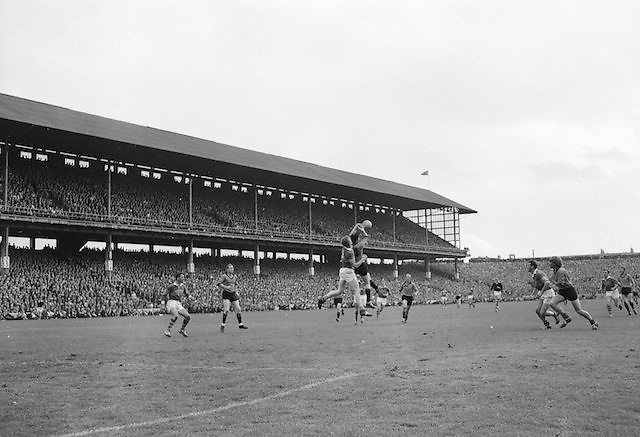 Players challenge each other mid air for possession of the ball during the All Ireland Senior Gaelic Football Final Kerry v Down in Croke Park on the 22nd September 1968. Down 2-12 Kerry 1-13.
